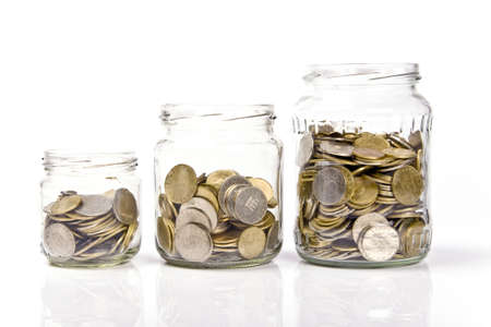 save money: jar of coins