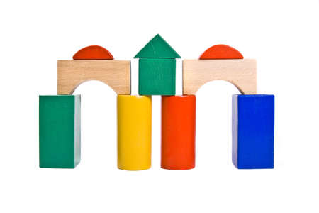 building from wooden colourful childrens blocks photo