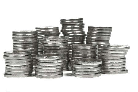 Coins Coin towers on white background photo