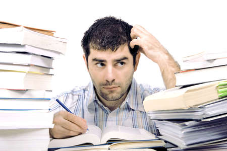 heap: studying man Stock Photo
