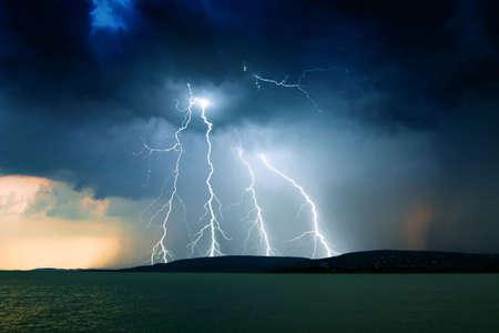 tornado wind: storm over the lake Balaton