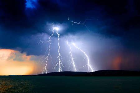 lightning storm: storm over the lake Balaton
