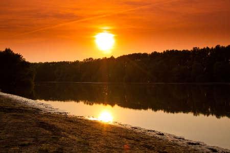 Sunset lake photo