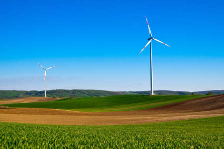 wind energy turbine power station in the rural  photo