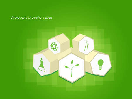 Set of ecology icons, 3d hexagons  photo