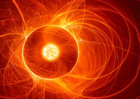 orange sky: solar flare Stock Photo