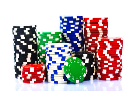 Stacks of poker chips  on a white background  Standard-Bild