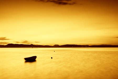 Beautiful sunset in the lake Balaton-long exposure Stock Photo - 8752276
