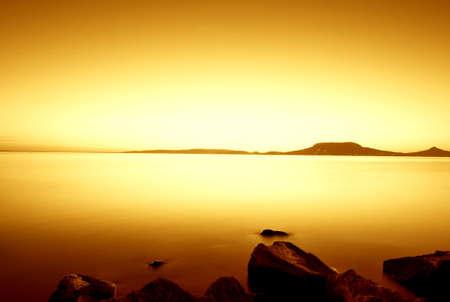 Beautiful sunset in the lake Balaton-long exposure Stock Photo - 8752271