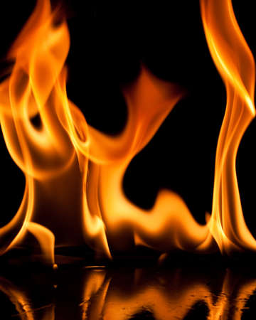 Close-up of fire and flames on a black background Stock Photo - 9306716