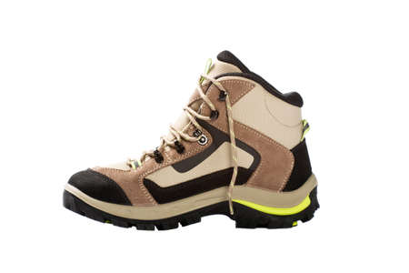 new hiking boots on white background  photo