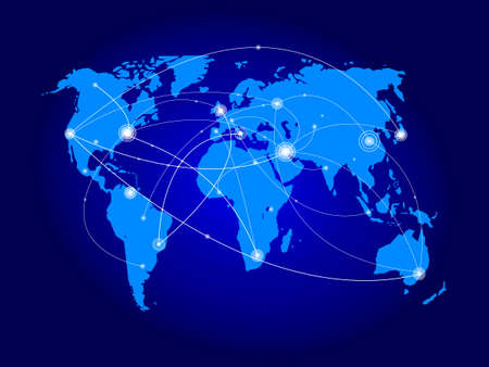 Vector illustration world map. Concept communication. Illustration