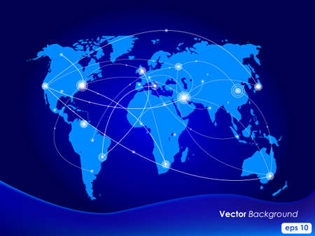 Vector illustration world map. Concept communication. Vector