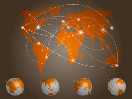 Vector illustration world map. Concept communication. Illustration