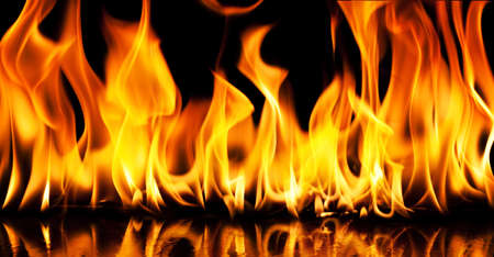 wildfire: Close-up of fire and flames on a black background Stock Photo