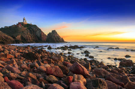 Sunset on the coast of the natural park of Cabo de Gata Archivio Fotografico