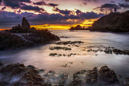 Sunset on the coast of the natural park of Cabo de Gata photo