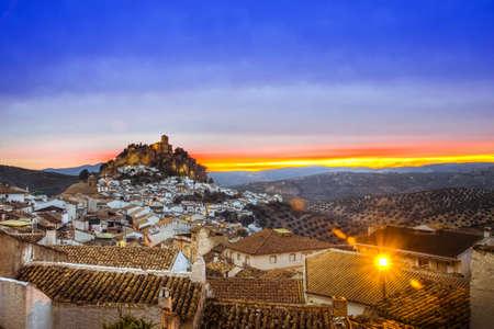 View over Montefrio in Granada, Spain towards the Moorish castle on the hill. Standard-Bild