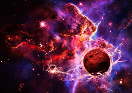Magical space and nebula  art galaxy creative background photo
