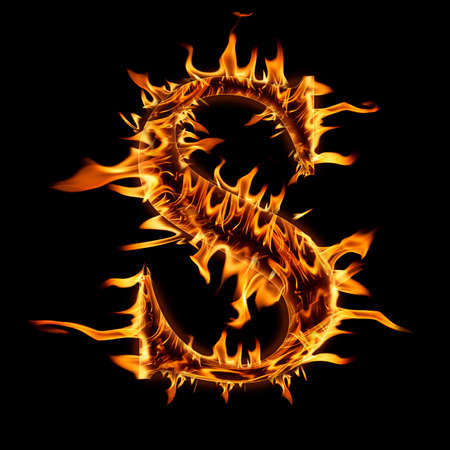 Fire flaming letter  S  background photo