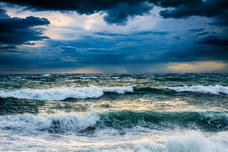 View of storm seascape in the Almeria coast, Spain Stock Photo