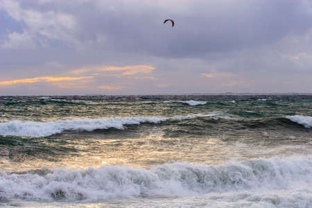 View of storm seascape in the Almeria coast, Spain photo