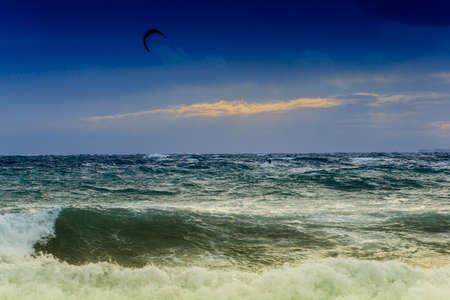 View of storm seascape in the Almeria coast, Spain photo