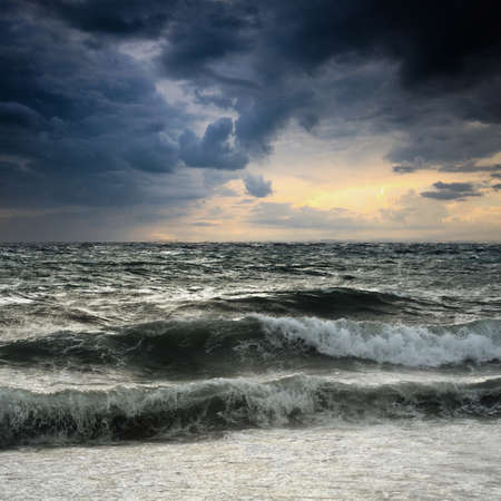 storm clouds: View of storm seascape in the Almeria coast, Spain Stock Photo
