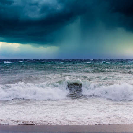 breaking waves: View of storm seascape in the Almeria coast, Spain Stock Photo