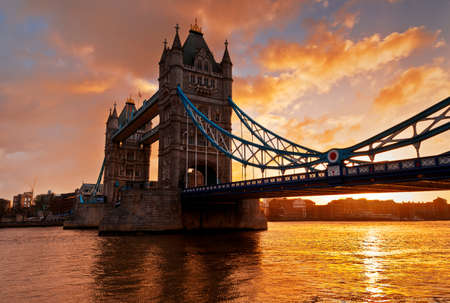 Tower Bridge against morning sunrise in London, England  This photo make HDR technic  photo