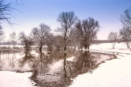 Winter landscape river Zagyva in Hungary photo