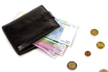 Black leather wallet and money euro photo