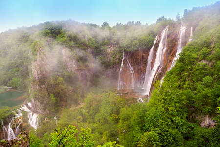 Waterfalls in Plitvice National Park, Croatia photo