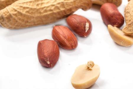 Dried peanuts in closeup photo