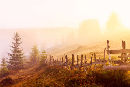 Mountain landscape with fog in Transylvania mountains photo