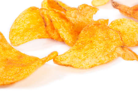 Potato chips in white background photo