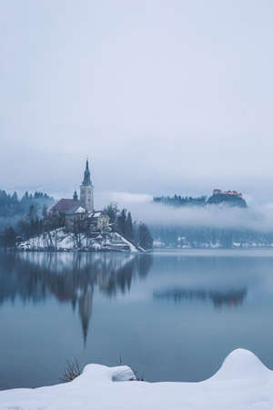 End of day at the  lake Bled  in winter, Slovenia, Europe photo