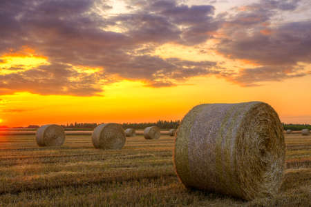 Sunset over rural road and farm field with hay bales-This photo make HDR photo