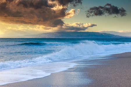 gusty: Sunset beach in natural park the  Gabo de Gata, Almeria, Spain