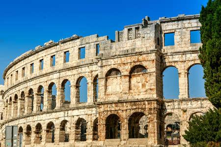 Famous ancient Roman Amphitheater - Arena, 1st. century, Pula, Croatia.  photo