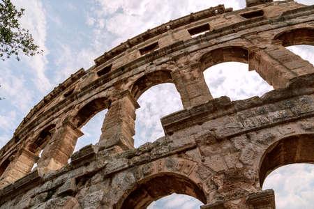 roman amphitheater: Famous ancient Roman Amphitheater - Arena, 1st. century, Pula, Croatia. Stock Photo