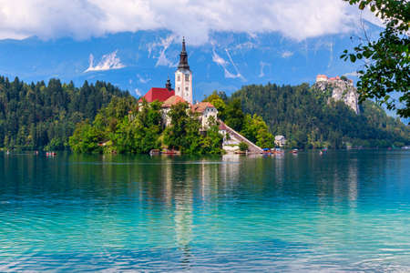 lake of the woods: Bled with lake, island  and mountains in background, Slovenia, Europe