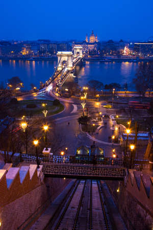 The Chain Bridge and Danube river in Budapest the capital of Hungary. photo