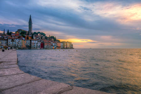 Rovinj old town at night in Adriatic  sea coast of Croatia, Europe. This image make HDR technique photo