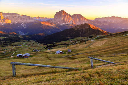 odle: Dolomites Alps in Summer. Odle mountains, taken from the Seceda refuge, Italian alps Stock Photo