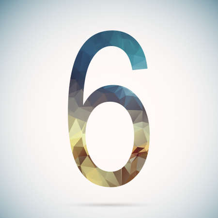 number six: Number six  in modern polygonal crystal style