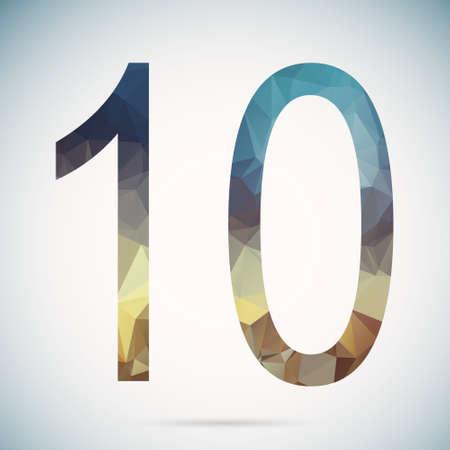 Number ten  in modern polygonal crystal style Vector