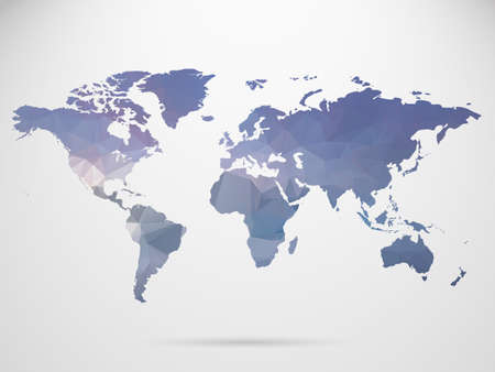 World map background in polygonal style background.