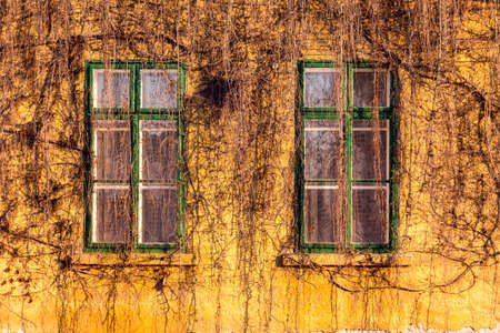 visegrad: Old dirty windows on old dirty wall
