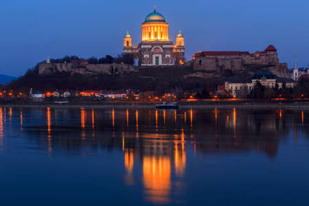 Esztergom - city in northern Hungary, on the right bank of the river Danube, which forms the border with Slovakia there. Its cathedral, Esztergom Basilica is the largest church in Hungary. photo